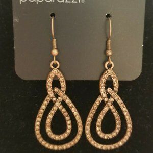 Paparazzi Copper With Rhinestones Earrings